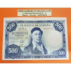 ESPAÑA 500 PESETAS 1954 PINTOR IGNACIO ZULOAGA @RARO Sin Serie 0394951@ Pick 154 BILLETE EBC CON DOBLEZ CENTRAL Spain banknote