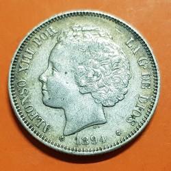 """@MUY RARA@ ESPAÑA Rey ALFONSO XIII 2 PESETAS 1894 * 18 94 PGV Tipo """"RIZOS"""" MONEDA DE PLATA KM.704 Spain silver coin 2"""