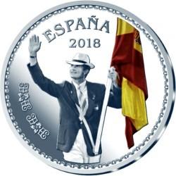 ESPAÑA 10 EUROS 2018 REY FELIPE VI 50 ANIVERSARIO ABANDERADO EN BARCELONA 92 MONEDA DE PLATA ESTUCHE FNMT