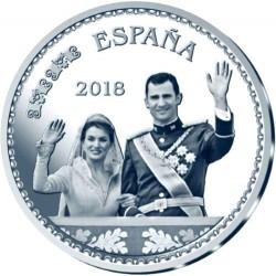 ESPAÑA 10 EUROS 2018 REY FELIPE VI 50 ANIVERSARIO BODA REAL CON LETIZIA MONEDA DE PLATA ESTUCHE FNMT