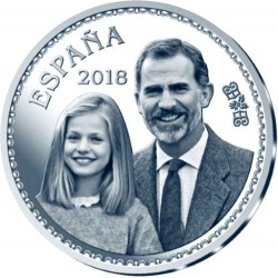 ESPAÑA 10 EUROS 2018 REY FELIPE VI 50 ANIVERSARIO SU ALTEZA REAL CON LA INFANTA LEONOR MONEDA DE PLATA ESTUCHE FNMT