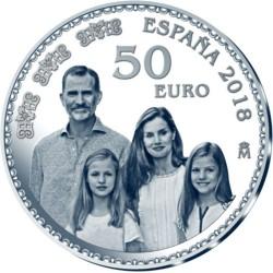 ESPAÑA 50 EUROS 2018 REY FELIPE VI 50 ANIVERSARIO IMAGEN DE LA FAMILIA REAL Cincuentín MONEDA DE PLATA ESTUCHE FNMT