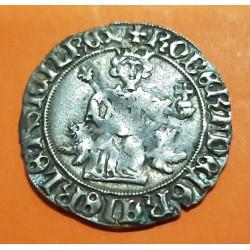 ITALIA 1 GIGLIATO 1309 1343 REINO DE NAPOLES REy ROBERTO EL SAMIO MEL.14 MONEDA DE PLATA @RARA@ Gigliati D'Angio NAPOLI