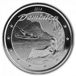 @1 ONZA 2018@ DOMINICA 2 DOLARES 2018 NATIVA EN PLAYA e HIDROAVION MONEDA DE PLATA SC silver OZ OUNCE 41mm Cápsula