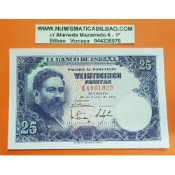 ESPAÑA 25 PESETAS 1954 ISAAC ALBENIZ Serie K 6961020 Pick 147 BILLETE SIN CIRCULAR SC PLANCHA Spain banknote