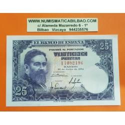 ESPAÑA 25 PESETAS 1954 ISAAC ALBENIZ Serie I 7092196 Pick 147 BILLETE SC @DOBLEZ CENTRAL@ Spain banknote