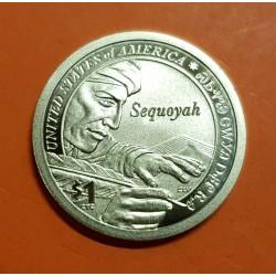 ESTADOS UNIDOS 1 DOLAR 2017 S INDIA SACAGAWEA ESCRIBA INDIO SEQUOYAH @PROOF@ MONEDA DE LATON USA 1 Dollar coin
