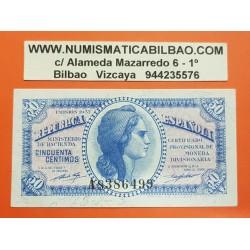 ESPAÑA 50 CENTIMOS 1937 REPUBLICA ESPAÑOLA DAMA Serie A 8386499 Pick 93 BILLETE SC @DOBLECES@ Spain banknote