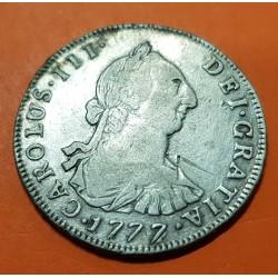 @RARA@ ESPAÑA Rey CARLOS III 4 REALES 1777 PR Ceca de POTOSI MONEDA DE PLATA @BRILLOS@ CAROLUS colonial silver coin