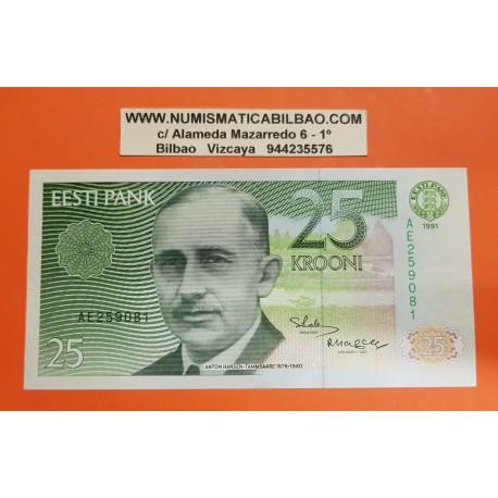 ESTONIA 25 KROONI 1991 ANTON HANSEN y GRANJA Pick 73A BILLETE SC @DOBLECES@ Estonie PRE-EURO BANKNOTE PVP NUEVO 50€