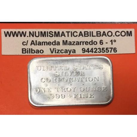 ESTADOS UNIDOS 1 ONZA HOROSCOPO ESTATUA LIBERTAD @LINGOTE DE PLATA PURA 999@ USA Liberty silver bar ingot OZ OUNCE