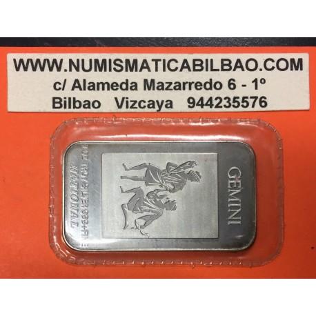 ESTADOS UNIDOS 1 ONZA HOROSCOPO GEMINIS @LINGOTE DE PLATA PURA 999@ USA Liberty silver bar ingot OZ OUNCE