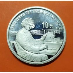 CHINA 10 YUAN 1990 LUDWIG VAN BEETHOVEN AL PIANO KM.307 MONEDA DE PLATA PROOF @RARA@