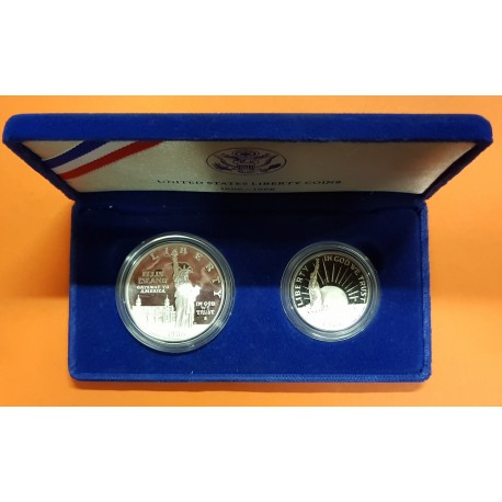 ESTADOS UNIDOS 1 DOLAR +1/2 DOLAR 1986 S ESTATUA DE LA LIBERTAD KM.212 + 211 PROOF USA Dollar commemorative