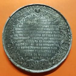 @ESCASA@ ESPAÑA Reina ISABEL II MEDALLA 1859 GUERRA DE ÁFRICA CONTRA MARRUECOS METAL PLATEADO