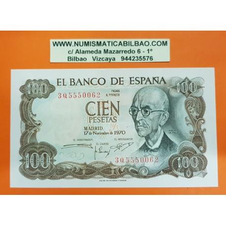 ESPAÑA 100 PESETAS 1970 MANUEL DE FALLA Serie 3Q Pick 152 BILLETE SC SIN CIRCULAR Spain banknote