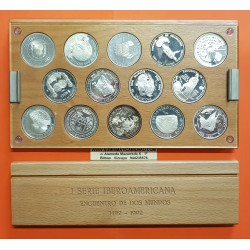 @OFERTA@ESPAÑA I SERIE IBEROAMERICANA 1ª 1991/1992 ENCUENTRO ENTRE DOS MUNDOS 14 MONEDAS DE PLATA SI ESTUCHE NO CERTIFICADO