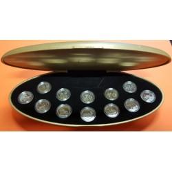 @12 MONEDAS@ CANADA 25 CENTAVOS 1999 Serie MILLENIUM PLATA PROOF CAPSULAS ESTUCHE OFICIAL Silver Mint Set