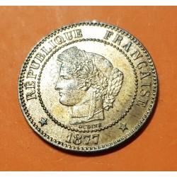 FRANCIA 2 CENTIMOS 1877 A DAMA CERES Ceca de PARIS KM.827.1 MONEDA DE BRONCE @LUJO@ France Deux Centimes REPUBLIQUE FRANCAISE