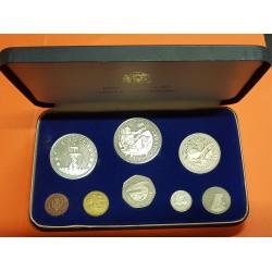 1973 BARBADOS ESTUCHE OFICIAL 8 coins Silver Proof Mint Set incluye 5 DOLARES PLATA + 10 DOLARES PLATA 2 Onzas