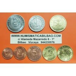 ESPAÑA MONEDAS EURO 1998 SC 1+2+5+10+20+50 Centimos 1 EURO + 2 EUROS PRUEBAS DE CHURRIANA FNMT Nº2
