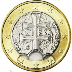 ESLOVAQUIA 1 EURO 2009 CRUZ SAGRADA MONEDA BIMETALICA SC SIN CIRCULAR Slovakia Slowakie 1€ coin