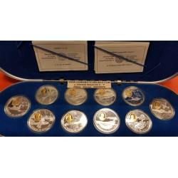 10 monedas CANADA 20 DOLARES 1995 1999 Serie 2ª AVIACION PLATA y ORO ESTUCHE y CERTIFICADO 1 ONZA OZ Silver & Gold Set