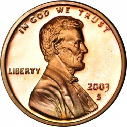 ESTADOS UNIDOS 1 CENTAVO 2003 S LINCOLN COBRE PROOF USA