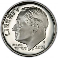 ESTADOS UNIDOS 10 CENTAVOS DIME 2003 S ROOSVELT KM.195A MONEDA DE PLATA PROOF USA COIN