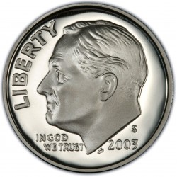 .USA 10 CENTAVOS DIME 2003 S ROOSVELT SILVER PP