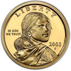 @RARA@ ESTADOS UNIDOS 1 DOLAR 2003 S INDIA SACAGAWEA KM.310 MONEDA DE LATON PROOF US $1 DOLLAR COIN