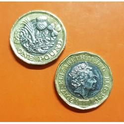 @NUEVO DISEÑO@ INGLATERRA 1 LIBRA 2016 QUEEN ELIZABETH II y FLORES KM.New MONEDA BIMETALICA SC- United Kingdom 1 Pound UK