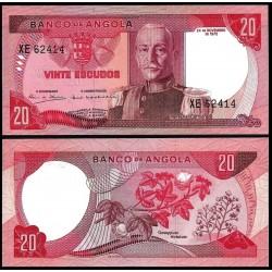 ANGOLA 20 ESCUDOS 1972 MARISCAL CARMONA y FLOR GOSSYPIUM Pick 99 BILLETE SC Ex colonia de Portugal UNC BANKNOTE