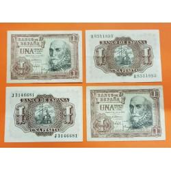4 billetes x 1 PESETA 1953 MARQUES DE SANTA CRUZ Serie R y Serie J Pick 144 CIRCULADOS Spain banknote