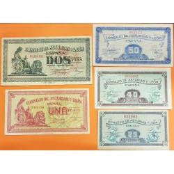 5 BILLETES x 25+40+50 CENTIMOS 1937 + 1 PESETAS + 2 PESETAS 1937 CONSEJO DE ASTURIAS y LEON MBC+ España GUERRA CIVIL