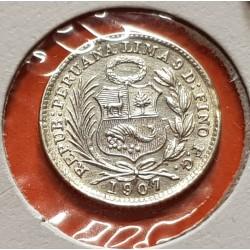 PERU 1/2 DINERO 1907 F.G. Ceca de Lima DAMA SENTADA KM.206.2 MONEDA DE PLATA SC República Peruana