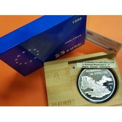 ESPAÑA 25 EUROS 1998 HOMENAJE AL EJERCITO ESPAÑOL (Cincuentín) MONEDA DE PLATA 5 Onzas ESTUCHE y CERTIFICADO FNMT
