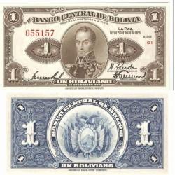 BOLIVIA 1 BOLIVIANO 1928 LEY 20 de JULIO BUSTO BOLIVAR Pick 119 BILLETE SC UNC BANKNOTE