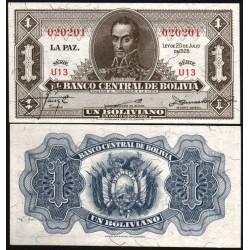 BOLIVIA 1 BOLIVIANO 1928 LEY 20 de JULIO BUSTO BOLIVAR Pick 128 BILLETE SC UNC BANKNOTE