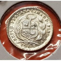 PERU 1/2 DINERO 1903 sobre 1803 J.F. Lima DAMA SENTADA KM.206.2 MONEDA DE PLATA LUJO República Peruana