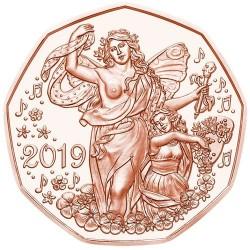 AUSTRIA 5 EUROS 2019 Moneda 1ª OPERA DE VIENA MUSICA COBRE SC Osterreich 5 Euro Coin
