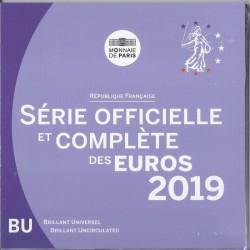 FRANCIA CARTERA OFICIAL EUROS 2019 SC 1+2+5+10+20+50 Centimos + 1 EURO + 2 EUROS 2019 UNC KMS EUROSET