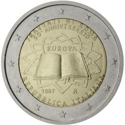 ITALIA 2 EUROS 2007 TRATADO DE ROMA 50 ANIVERSARIO SC BIMETALICA MONEDA CONMEMORATIVA