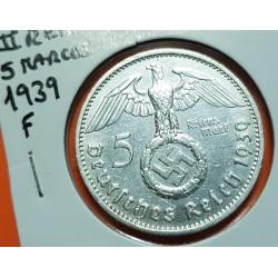 ALEMANIA 5 MARCOS 1939 F AGUILA y ESVASTICA NAZI III REICH @ESCASA@ KM.94 MONEDA DE PLATA Germany 5 Reichsmark 2