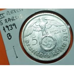 ALEMANIA 5 MARCOS 1939 B AGUILA y ESVASTICA NAZI III REICH KM.94 MONEDA DE PLATA SC- Germany 5 Reichsmark Ref.1
