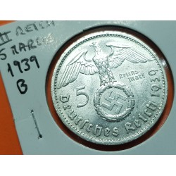 ALEMANIA 5 MARCOS ESVASTICA NAZI 1939 B PLATA III REICH NAZI 2