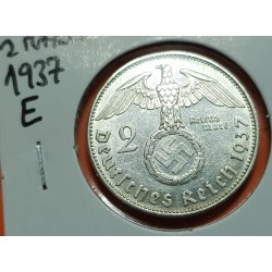 ALEMANIA 2 MARCOS 1937 A AGUILA ESVASTICA NAZI PLATA III REICH 2