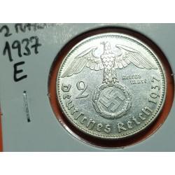 ALEMANIA 2 MARCOS 1937 E AGUILA y ESVASTICA NAZI III REICH KM.93 MONEDA DE PLATA EBC@ Germany 2 Reichsmark Ref.1