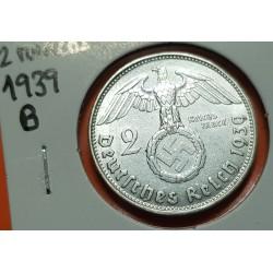 ALEMANIA 2 MARCOS 1939 B AGUILA y ESVASTICA NAZI III REICH KM.93 MONEDA DE PLATA SC- Germany 2 Reichsmark Ref.1