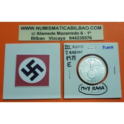 ALEMANIA 2 MARCOS 1939 E AGUILA y ESVASTICA NAZI III REICH KM.93 MONEDA DE PLATA @MUY RARA@ Germany 2 Reichsmark